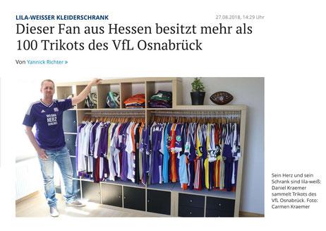 NOZ Artikel VfL Osnabrück Trikot Trikotsammlung vom 27.08.2018