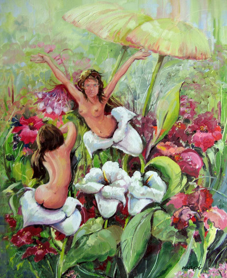Olieverfschilderij  40 X 50 cm  -  Als een bloem