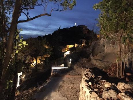 Eclairage jardin en restanques quartier Vauban Marseille 13006
