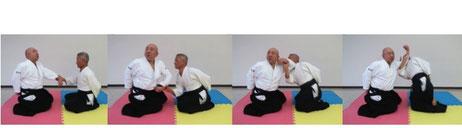 画像 坐技片手取り入り身運動で昇氣呼吸法:受けの同名側の頸部に陽の陽の魂氣が結ぶ