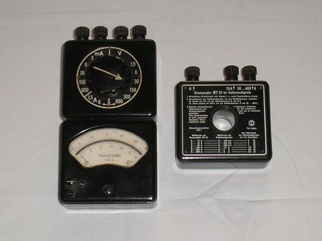 Multimeter Tavocord mit Stromwandler WT 15 Fertigungsjahr 1949