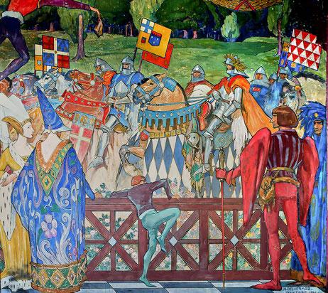 Les grandes heures de la chevalerie offertes à la Villa de la Montagne par Henri Deluermoz, peintre français