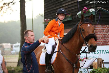 Luc Steeghs en Sanne Thijssen op DYF 2018, waar het Young Riders team won. Foto Wendy Scholten