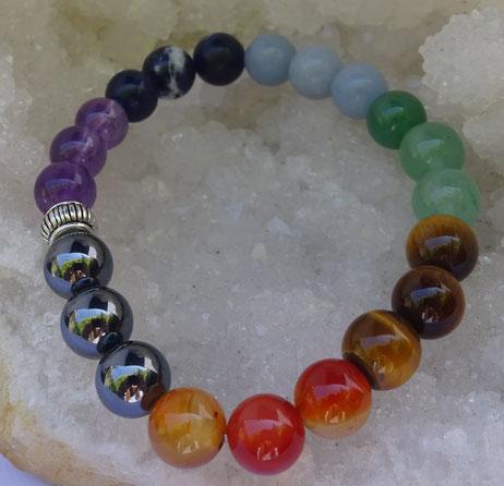 Bracelet 7 chakras, Pierres de Lumière, Saint Rémy de Provence, lithothérapie, propriétés, vertus, esotérisme, bien-être, pierre, gemme
