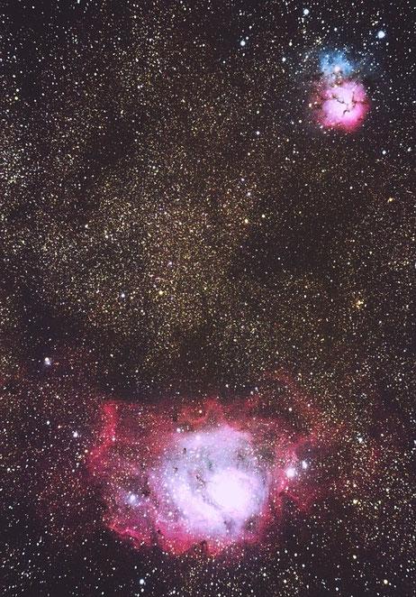 Nebulosas de La Laguna (M8) y La Trífida (M20) desde el Alto de Fontefría. Pablo Martínez (11/07/2015).