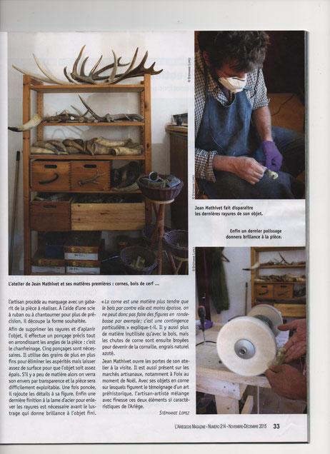 suite et fin de l'article montrant Jean Mathivet au travail dans son atelier .