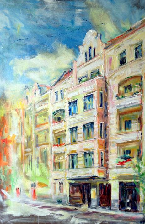 Friedbergstraße 30 .120 x 80 cm . Acryl auf Leinwand .  AUFTRAGSARBEIT