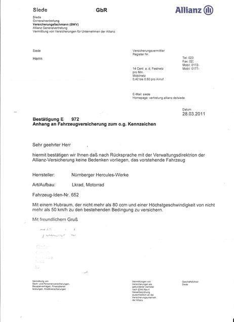 Versicherungsbestätigung der Allianz aus 2011