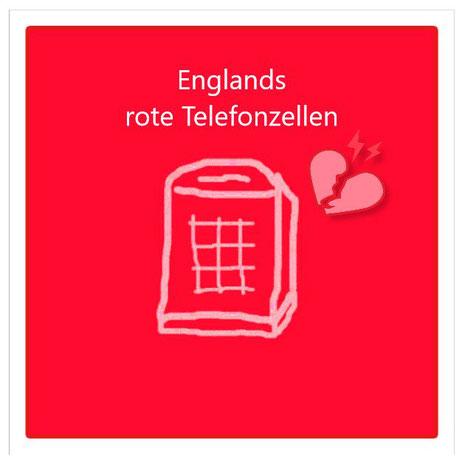 Dieses Bild zeigt eine Reihe von bristischen Sehenswürdigkeiten, darunter ein Symbol der berühmten roten Telefonzellen.