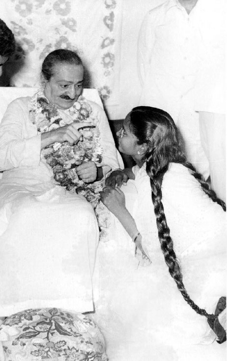 1959, Guruprasad, Pune, India. Meher Baba is talking to Madhusudan's wife -  Subhadra