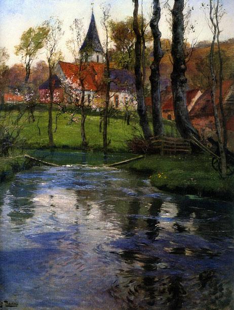 """Frits Thaulow, """"La vecchia chiesa vicino al fiume"""" (1895)"""
