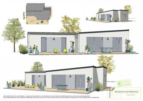 Maison moderne de plain pied avec un toit monopente et enduit bicolore blanc et gris