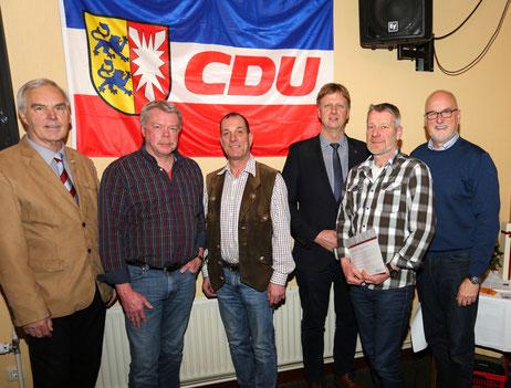 v.li. Heiner Barnick, Ulrich Baschke, Rolf Strauch, Heiner Rickers, Hans-Jürgen Schnoor, Johann Hansen.