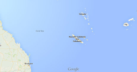New Caledonia, a tiny island compared to Australia