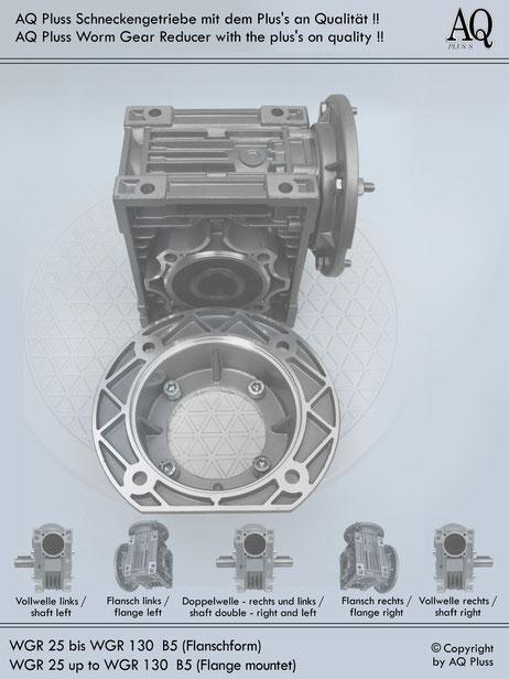 Getriebe » Schneckengetriebe » Schneckengetriebe ohne Motor » B5 Flanschform