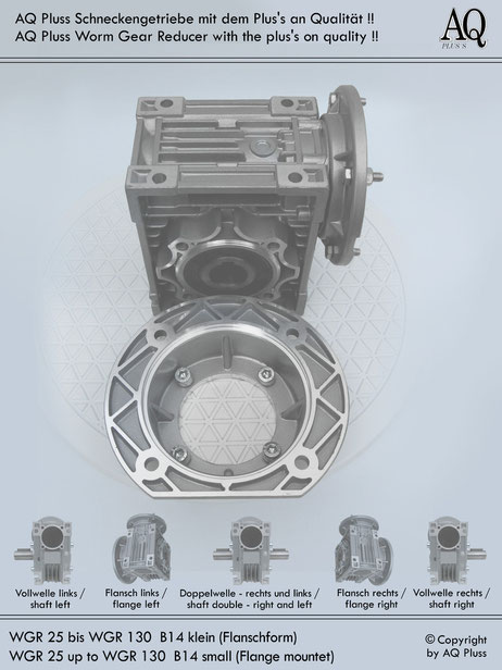 Getriebe » Schneckengetriebe » Schneckengetriebe ohne Motor » B14 kl Flanschform