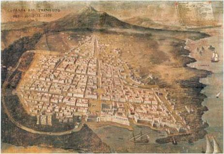 mappa di Catania del 1708