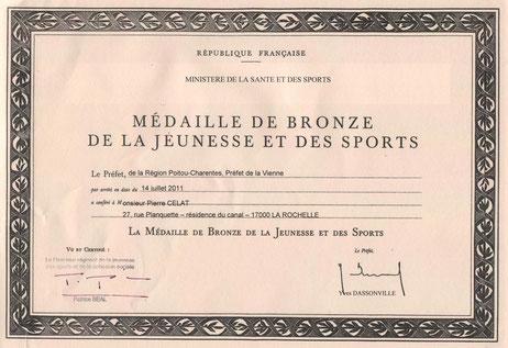 Rool - Pierre Célat Médaille Ministère Jeunesse et Sport