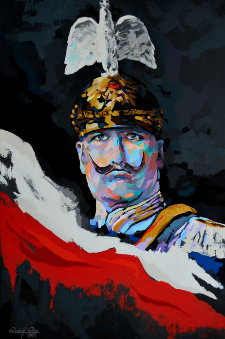 Moderne und expressive Kunst. Mit dem Palettenmesser und Acrylfarben auf Leiwand gespachtelts Gemälde des Kaiser Wilhelm II.
