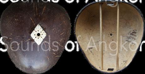 2. Extérieur et intérieur de la caisse de résonance en noix de coco.