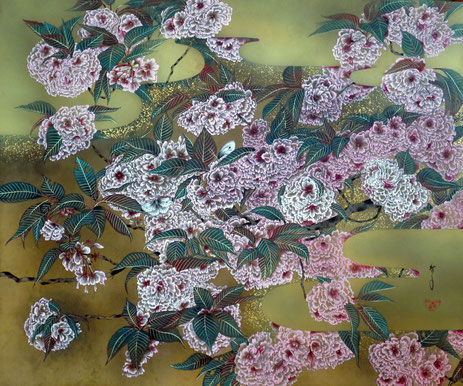 夢見桜-関山桜- 60.6x72.7cm 雲肌麻紙・岩絵具・金箔