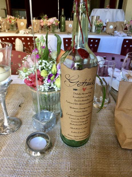 Die Getränkekarte in Form einer Weinflasche im Vintage-Stil