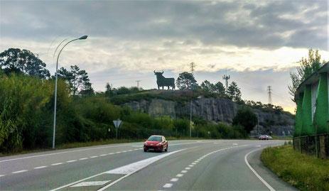 von Pontevedra aus gehts nach Portugal, zum Abschied grüsst der spanische Osborne-Stier