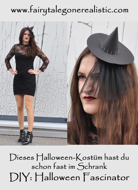 DIY Halloween Fascinator Hexe Halloweenkostüm DIYBlog Fairy Tale Gone Realistic Modeblog München
