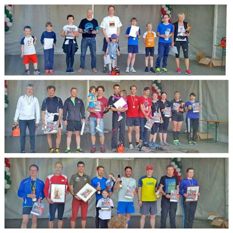 Die Sieger und Platzierten von o.n.u. 3km, 7,7km, 11,6km