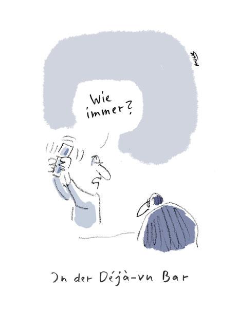 Cartoon von Mock zum Thema Social Distancing Einsamkeit Single