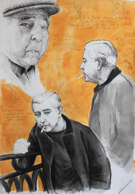 """""""1 bric-à-brac et 3 Prévert"""", 2017; exposition """"Hommage à Prévert"""" au Théâtre des Sablons, Neuilly/Seine, du 7 au 14 octobre 2017"""