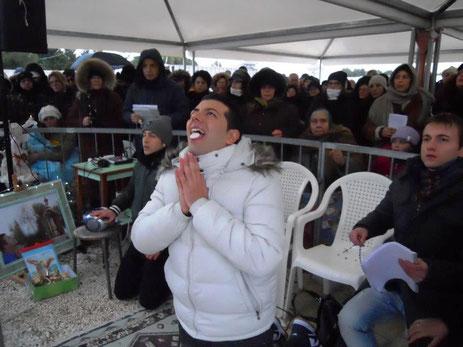 Mario D'Ignazio bei der mystischen Kommunion, 5. Februar 2012