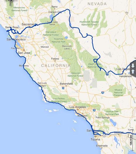 gefahrene Route durch Kalifornien