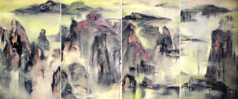 无余四组 THE HUANGSHAN MOUNTAINS 120X280CM 布面油画 OIL ON CANVAS 2006