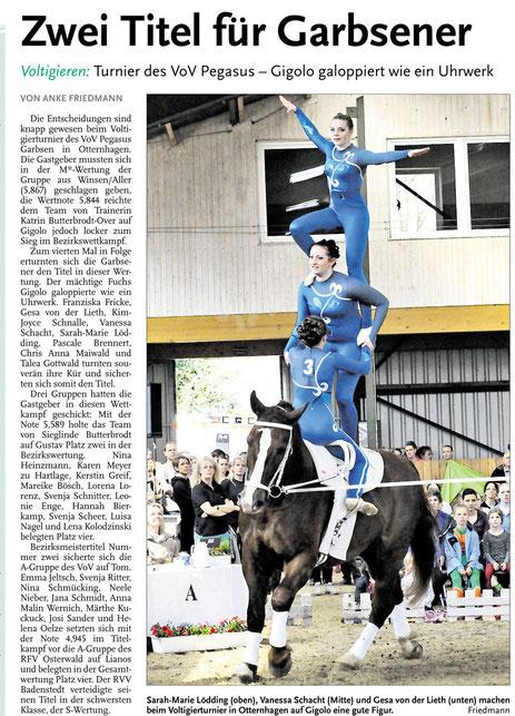 Zeitungsartikel zum Turnier in Otternhagen 2013