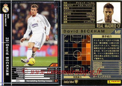 N° 360 - David BECKHAM (2006-07, Real Madrid, ESP > Jan à juin 2013, PSG)