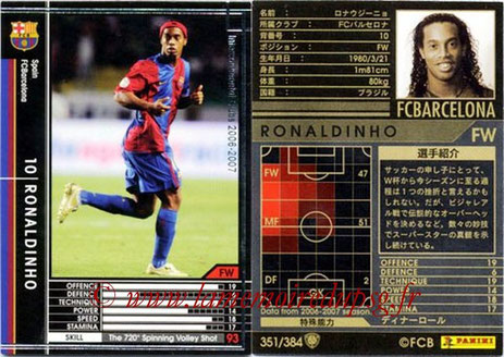 N° 351 - RONALDHINO (2001-03, PSG > 2006-07, FC Barcelone, ESP)