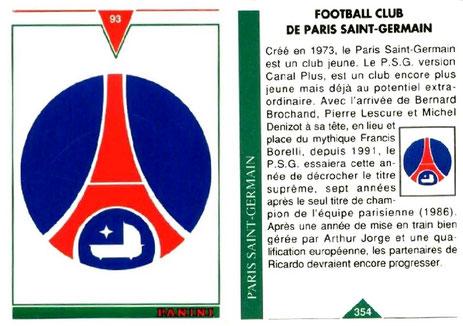 N° 354 - Ecusson PSG