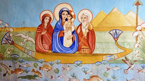 Die Hl. Familie fährt über den Nil. Malerei: Daniela Rutica. Foto: J. Peppler