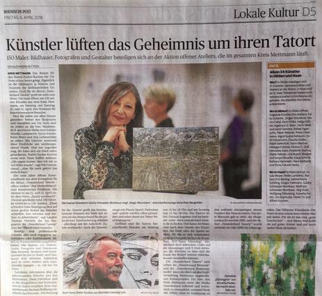 Annette Palder, Pressebericht, Rheinische Post, Kunst, take OFF GALLERY, tOG-Düsseldorf, Ausstellung, offene Atelier, neanderland Tatorte,