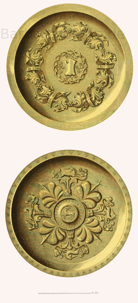 Becken und Schüsseln in Messing getrieben, aus der zweiten Hälfte des 15. Jahrhunderts, im Germanischen Museum zu Nürnberg.