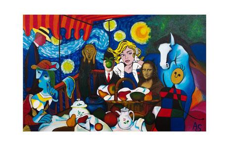 Verbindungen oder Das Frühstück der 12 Kunstelemente, 115 x 80 cm, Oktober 2015, Acryl/Öl auf Leinwand
