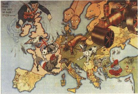 Les chiens dévorent la paix, dessin d'E. Walter, 1914 (DR)
