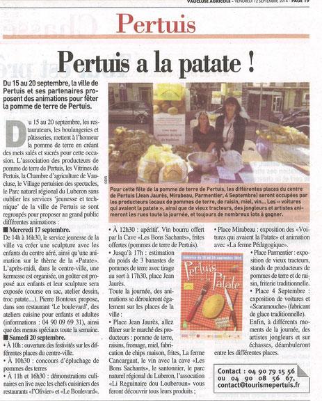 Vaucluse Agricole 12 septembre 2014