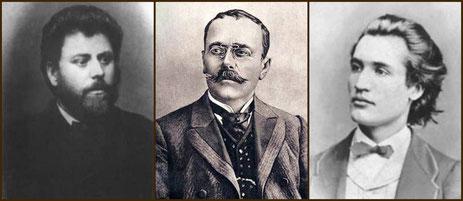 Ion Creanga (1839-1889)  /  Ion Luca Caragiale (1852-1912) / Mihai Eminescu (1850-1889)