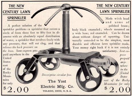 1902. Aspersor residencial móvil. Precio: 2 dólares.