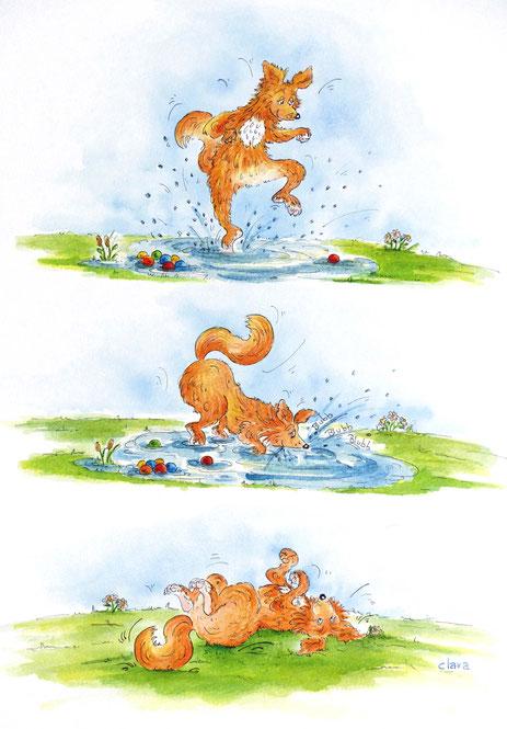Cartoon Hund im Wasser