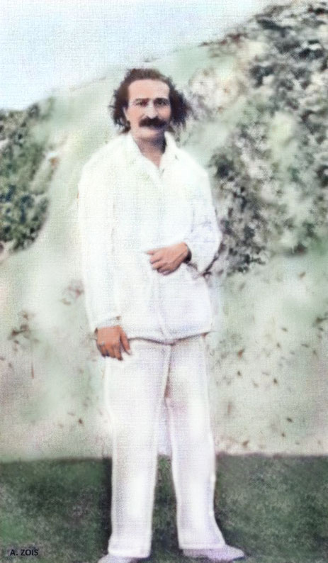 June 1932 - Meher Baba in Nanjing, China. Image colourized, edited and cropped by Anthony Zois