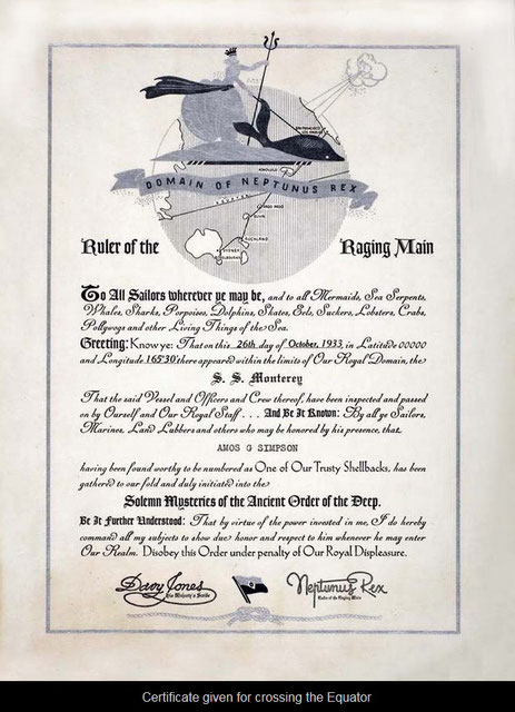 Nautical certificate for crossing the Equator