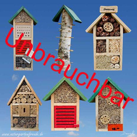 Insektennisthilfe Insektenhotel Nisthilfe Negativbeispiele für Nisthilfen käufliche Nisthilfen Baumarkt Gartencenter Lidl Aldi insect nesting aid insect hotel mason bee Neudorff bug house